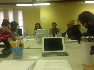 THE BOOK CLUB PLAY cast in rehearsal