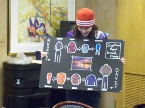 A student designer's costume design board for Almost, Maine