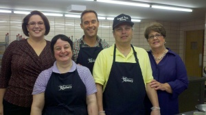 News10's Pat Taney and I with Sharon Jarvis from the Jimmy W. Wilmot Adult Training Program and bakers Lisa and Tony.