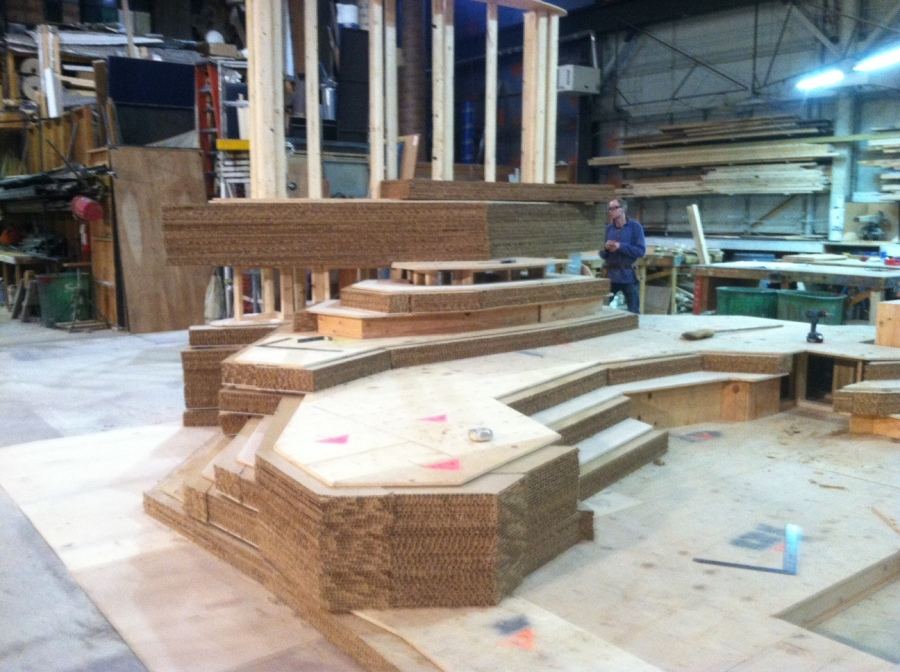 Part of the set for Informed Consent (designed by Michael Raiford) in the scene shop, before the edges were sculpted