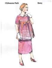 Costume rendering by Clybourne Park designer Skip Mercier