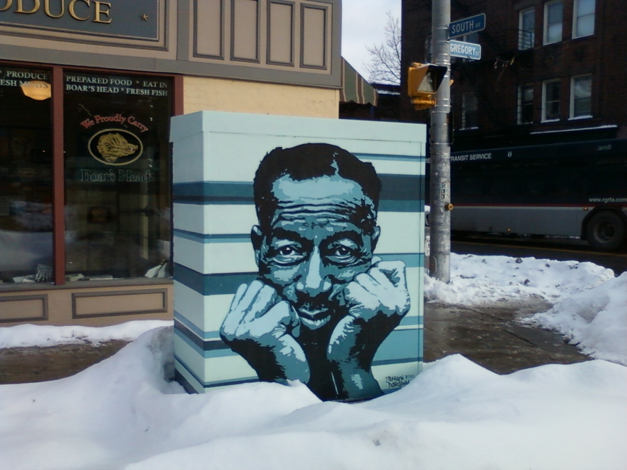 """Son House mural at South Ave. and Gregory St., by """"Theivin' Steven"""" Dorbiola"""