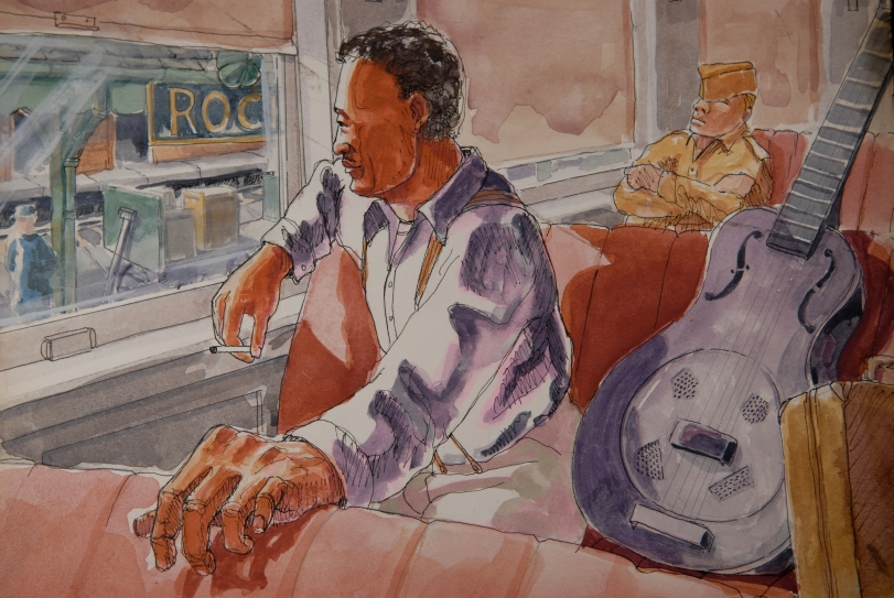 Watercolor of Son House by Robert Trussell