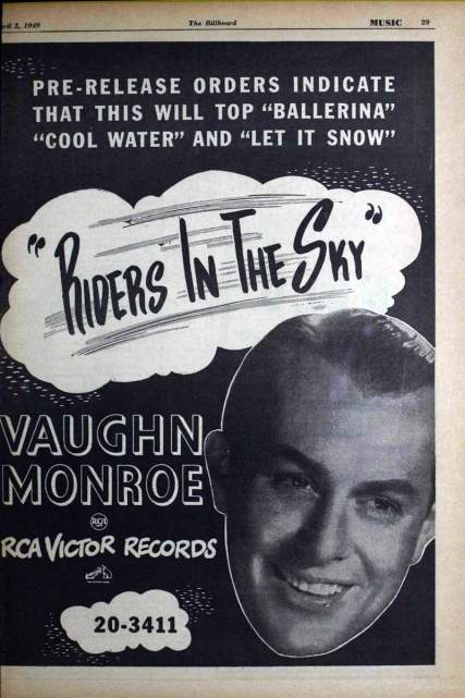 """Vintage ad in Billboard for Vaughn Monroe's cover of """"Riders in the Sky."""""""