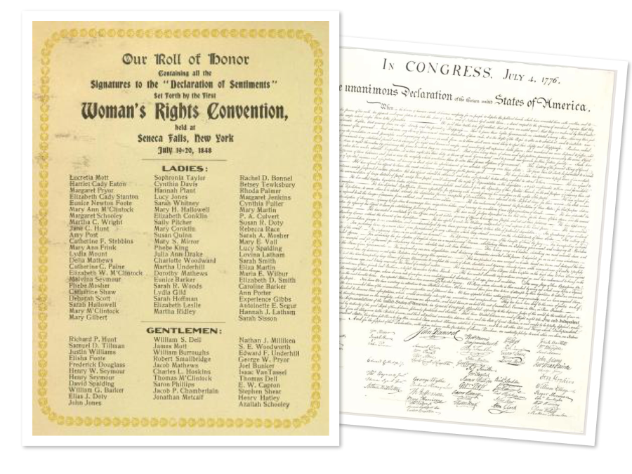 differences between declaration of independence and seneca falls resolutions